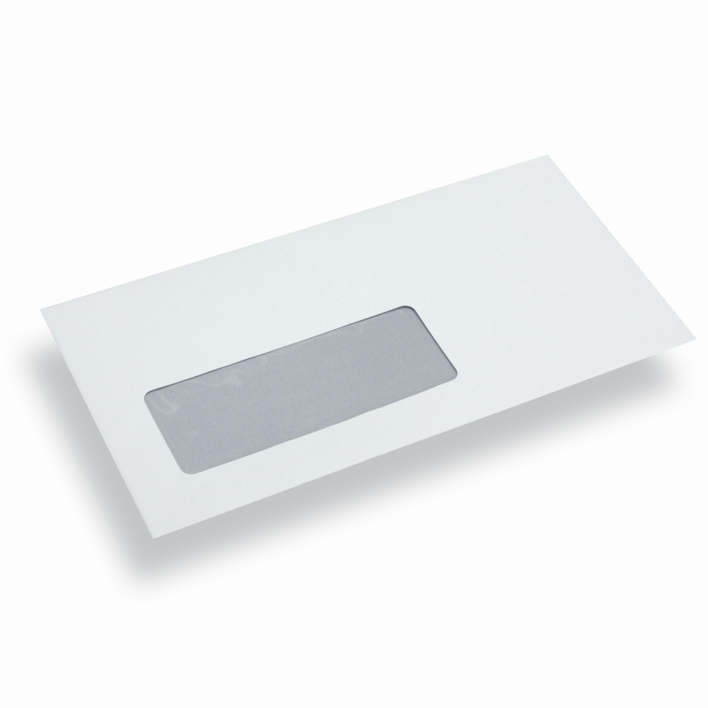Enveloppe administrative blanche fen tre gauche din for Enveloppe fenetre a gauche