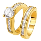 Eve gold plated 2 delige ring met zirkonia