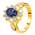 Eve gold plated ring met saffier & zirkonia
