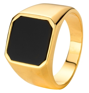 Goldplated zegelring onyx (1013439)