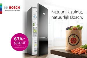 Bosch A+++ koelkasten en vriezers met 75,- euro retour