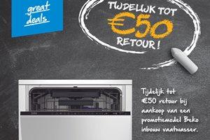 Beko Inbouw Vaatwasser tot 50,- euro retour