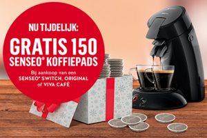 Philips Coffee met gratis 150 koffiepads cadeau