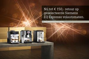 Siemens EQ Espresso tot 150,- euro retour