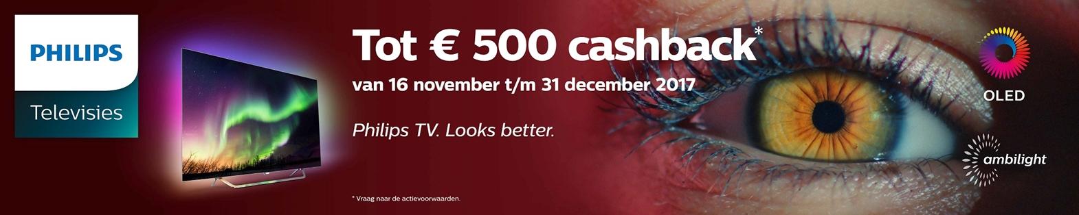 Tot € 500,- retour bij aankoop van een Philips Ambilight TV
