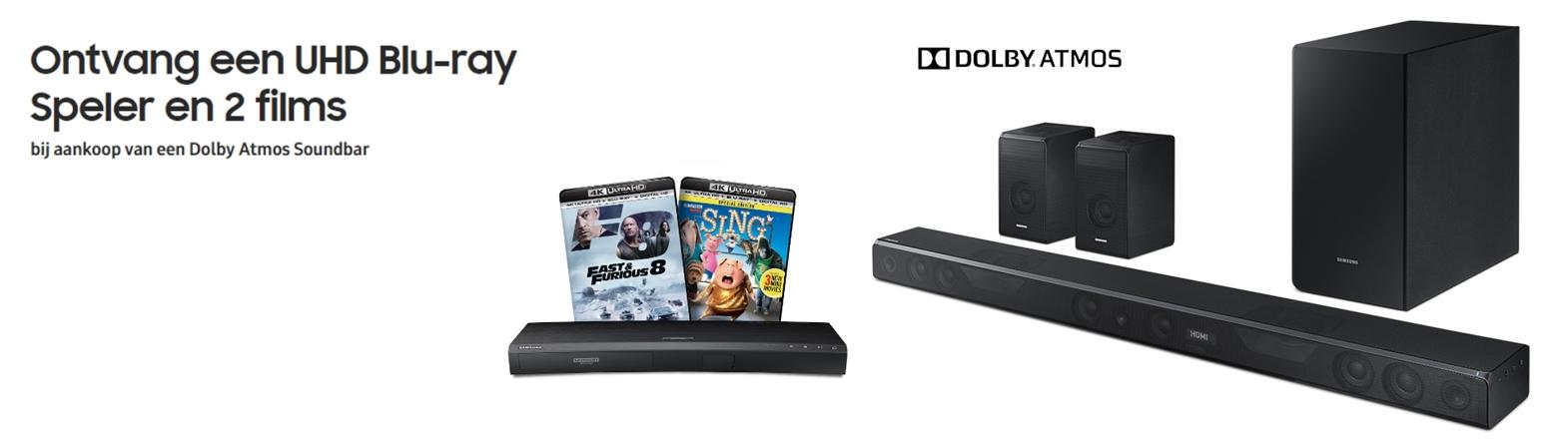 Nu een gratis UHD Blu-ray speler bij een Samsung Dolby Atmos soundbar