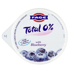 Fage Total Griekse yoghurt honing 0% of blueberry 0%