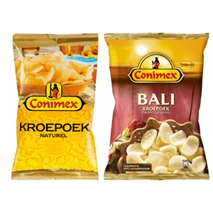 Conimex kroepoek, boemboe, of bami en nasi mixen