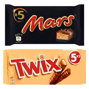 Mars, Snickers, Twix, Bounty of Milky Way