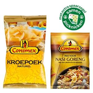 Conimex kroepoek, boemboe of bami & nasi mixen