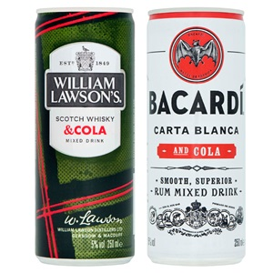 Bacardi, William Lawson's of Eristoff mix