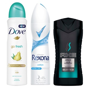 Axe, Dove of Rexona deodorant of douche