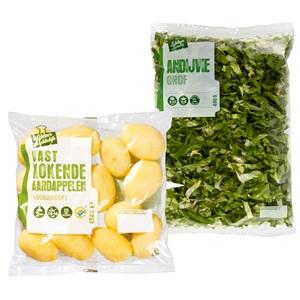 gesneden andijvie of panklare aardappelen