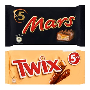 Mars, Snickers, Twix of Bounty