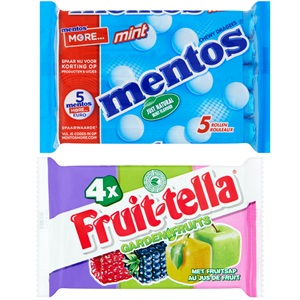 Fruittella of Mentos snoeprollen