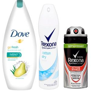 Dove of Rexona deodorant, douche of bad