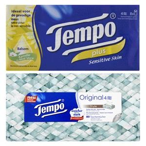 Edet vochtig toiletpapier of Tempo tissues of zakdoekjes