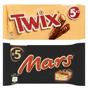 Mars, Snickers, Twix, Milky Way of Bounty