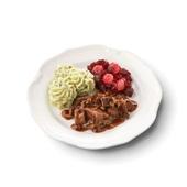 Culivers (5) hachee, rode bietjes met zilveruitjes en aardappelpuree met tuinkruiden