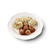 Culivers (16) kalfsgehaktballetjes is zigeunersaus, koolrabi met kruiden en röstirondjes voorkant