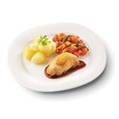 Culivers (34) kippendijrolletjes met kippenjus, groentestoverij met amandel-rozijn en gekookte aardappelen