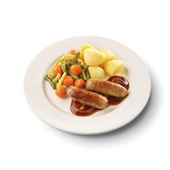 Culivers (49) varkenssaucijs in uienjus met groentemix en gekookte aardappelen