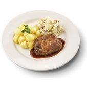 Culivers (50) halskarbonade in jus, witlof met bacon en gekookte krieltjes