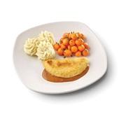 Culivers (65) omelet champignon in provencaalse saus, parijse worteltjes en aardappelpuree