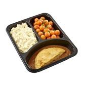 Culivers (65) omelet champignon in provencaalse saus, parijse worteltjes en aardappelpuree achterkant