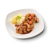 Culivers (74) gegrilde vegastukjes in jus, groentestoverij met amandel-rozijnen en gekookte aardappelen