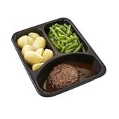 Culivers (79) rundertartaartje met jus, sperziebonen en gekookte aardappelen zoutarm  achterkant