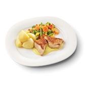 Culivers (99) kalkoenmedaillons met kerriesaus, Mexicaanse mix met gekookte aardappelen zoutarm