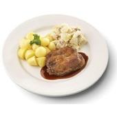 Culivers (118) halskarbonade in jus, witlof met bacon en gekookte krieltjes zoutarm