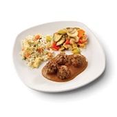 Culivers (127) vegetarische balletjes in satésaus, tjap tjoy en nasi goreng zoutarm