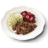 Culivers (2) hachee, rode bietjes met zilveruitjes en aardappelpuree met tuinkruiden gluten- en lactosevrij