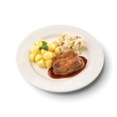 Culivers (15) halskarbonade in jus, witlof met bacon en gekookte krieltjes gluten- en lactosevrij