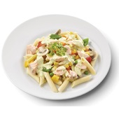 Culivers (3) zalmfiletstukjes in kervelsaus, penne met groenten gluten- en lactosevrij