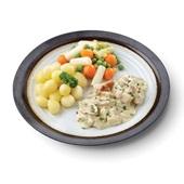 Culivers (77) vol au vent, asperge-groentemix met gekookte krieltjes zoutarm