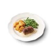 Culivers (8) rundervink met mosterdsaus, sperziebonen en gebakken aardappelblokjes