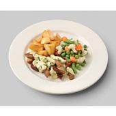 Culivers (41) varkensreepjes in groene kruidensaus, gemengde groenten en gebakken roty aardappelen
