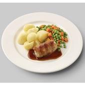 Culivers (117) slavink met jus, doperwtjes en worteltjes en gekookte aardappelen zoutarm