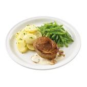 Culivers (116) varkensoester met champignonsaus, snijbonen en aardappelschijfjes met peterselie zoutarm