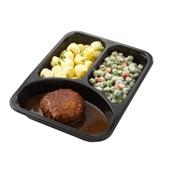 Culivers (106) gehaktballetjes met jus, kapucijners à la crème met bacon en mini krieltjes met tuinkruiden zoutarm achterkant