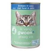 Gwoon kattenvoer brokjes in saus met forel en zalm