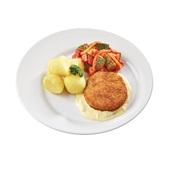 Culivers (57) visburger met preisaus, ratatouille en gekookte aardappelen
