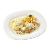 Culivers (30) kip in pepersaus, pastinaak met pompoen en aardappelschotel naturel