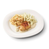 Culivers (31) kipfilet in champignonsaus, schorseneren met tijm en zoete aardappelpuree