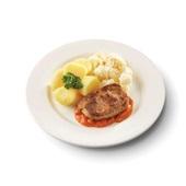 Culivers (112) hamlapje in stroganoffsaus, bloemkool à la crème en gekookte aardappelen zoutarm