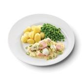 Culivers (119) nieuwpoorts visserspannetje, tuinerwten en gekookte krieltjes zoutarm