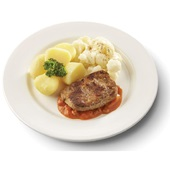 Culivers (13) hamlapje in stroganoffsaus, bloemkool à la crème en gekookte aardappelen gluten- en lactosevrij